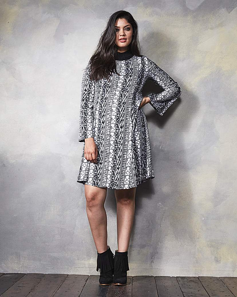 Print Long Sleeve Woven Swing Dress - style: shift; neckline: high neck; secondary colour: mid grey; predominant colour: black; length: just above the knee; fit: soft a-line; fibres: polyester/polyamide - stretch; hip detail: soft pleats at hip/draping at hip/flared at hip; sleeve length: long sleeve; sleeve style: standard; trends: monochrome; pattern type: fabric; pattern size: standard; pattern: patterned/print; texture group: woven light midweight; occasions: creative work; season: a/w 2015