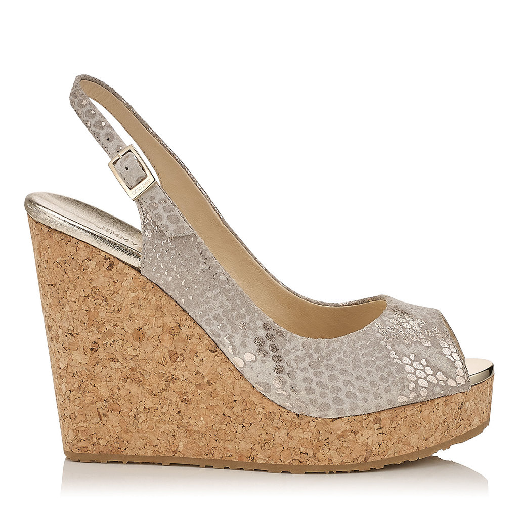 Prova Light Khaki Metallic Printed Suede Cork Wedges - predominant colour: champagne; occasions: casual, holiday; material: leather; heel height: high; ankle detail: ankle strap; heel: wedge; toe: open toe/peeptoe; style: strappy; finish: metallic; pattern: plain; shoe detail: platform; season: a/w 2015; wardrobe: highlight