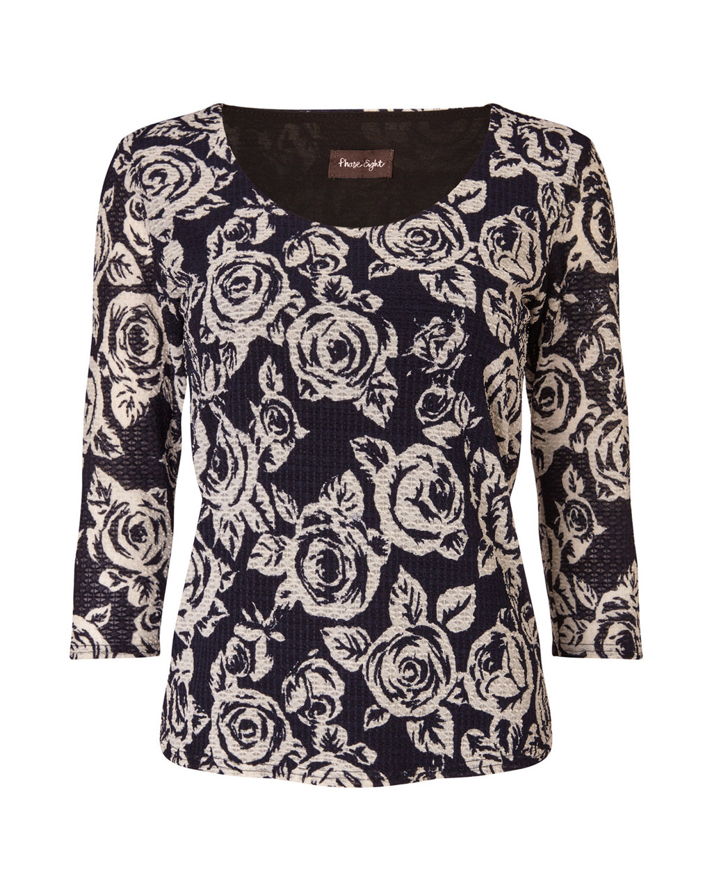 Rose Lace Top - secondary colour: blush; predominant colour: black; occasions: casual, creative work; length: standard; style: top; neckline: scoop; fibres: polyester/polyamide - 100%; fit: body skimming; sleeve length: 3/4 length; sleeve style: standard; texture group: lace; pattern type: fabric; pattern size: standard; pattern: patterned/print; season: a/w 2015