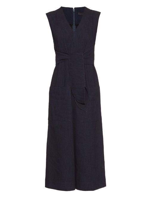 Tie Front Wide Leg Jumpsuit - neckline: low v-neck; fit: tailored/fitted; pattern: plain; sleeve style: sleeveless; waist detail: belted waist/tie at waist/drawstring; length: below the knee; predominant colour: black; fibres: cotton - 100%; sleeve length: sleeveless; texture group: denim; style: jumpsuit; pattern type: fabric; occasions: creative work; season: a/w 2015