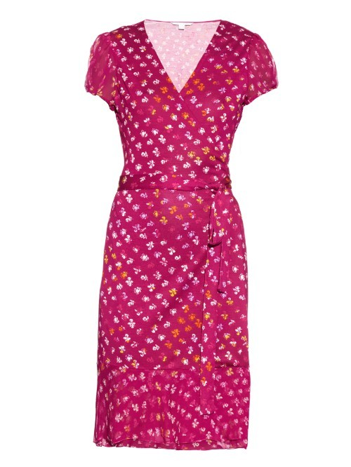 Layton Dress - style: faux wrap/wrap; length: below the knee; neckline: low v-neck; sleeve style: capped; waist detail: belted waist/tie at waist/drawstring; secondary colour: white; predominant colour: hot pink; fit: body skimming; fibres: silk - mix; sleeve length: short sleeve; pattern type: fabric; pattern size: standard; pattern: patterned/print; texture group: jersey - stretchy/drapey; occasions: creative work; season: a/w 2015