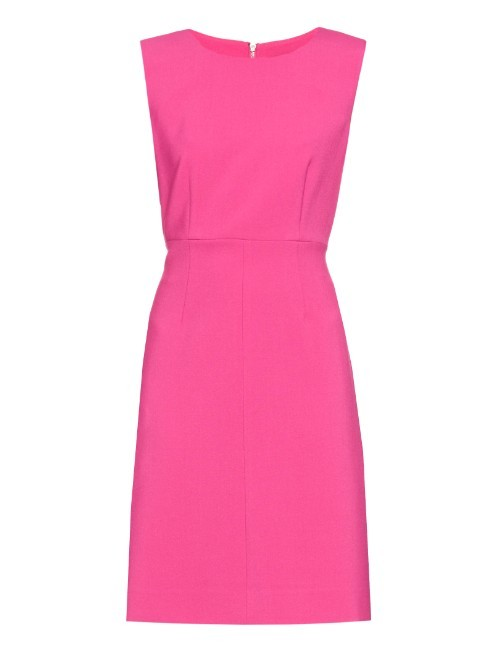 Carrie Dress - style: shift; length: mid thigh; fit: tailored/fitted; pattern: plain; sleeve style: sleeveless; predominant colour: hot pink; fibres: silk - mix; occasions: occasion; neckline: crew; sleeve length: sleeveless; pattern type: fabric; texture group: other - light to midweight; season: a/w 2015; wardrobe: event