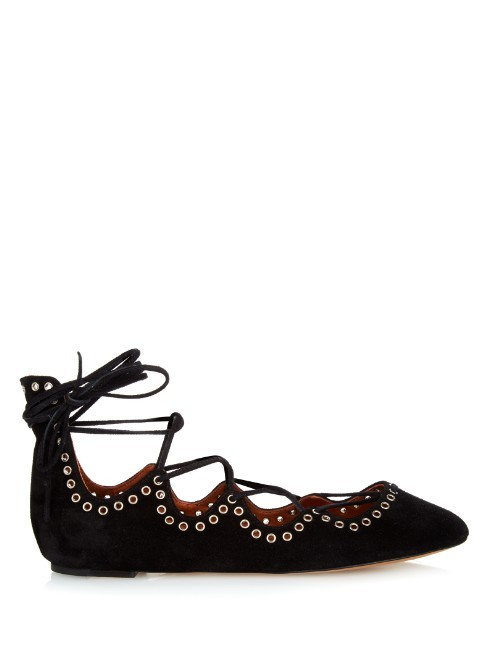 Leo Lace Up Ballet Flats - secondary colour: gold; predominant colour: black; material: suede; heel height: flat; embellishment: studs; ankle detail: ankle tie; toe: pointed toe; style: ballerinas / pumps; finish: plain; pattern: patterned/print; occasions: creative work; season: a/w 2015; wardrobe: highlight