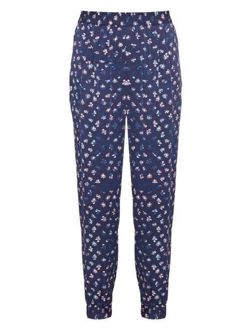 Janeta Trousers - length: standard; waist detail: elasticated waist; style: peg leg; waist: mid/regular rise; secondary colour: white; predominant colour: navy; occasions: casual, creative work; fibres: silk - 100%; fit: tapered; pattern type: fabric; pattern: florals; texture group: woven light midweight; pattern size: standard (bottom); season: a/w 2015; wardrobe: highlight
