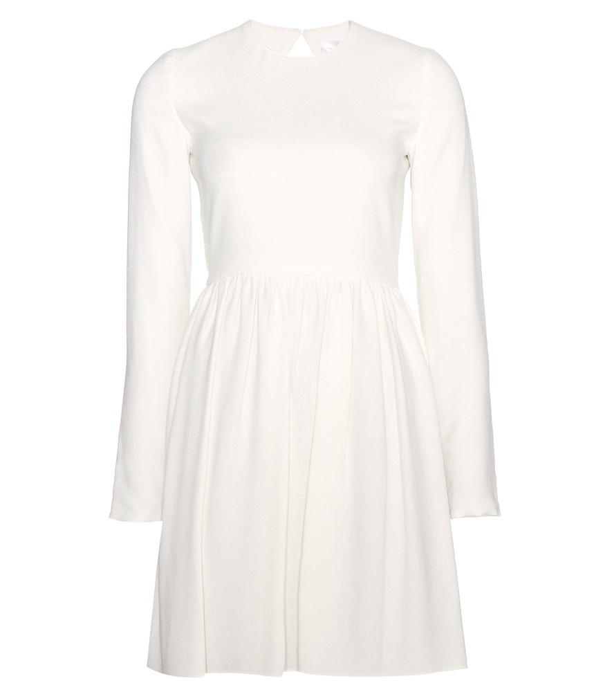 Crepe Dress - pattern: plain; waist detail: fitted waist; predominant colour: ivory/cream; length: just above the knee; fit: fitted at waist & bust; style: fit & flare; fibres: silk - 100%; neckline: crew; hip detail: subtle/flattering hip detail; sleeve length: long sleeve; sleeve style: standard; texture group: crepes; pattern type: fabric; occasions: creative work; season: a/w 2015; wardrobe: investment