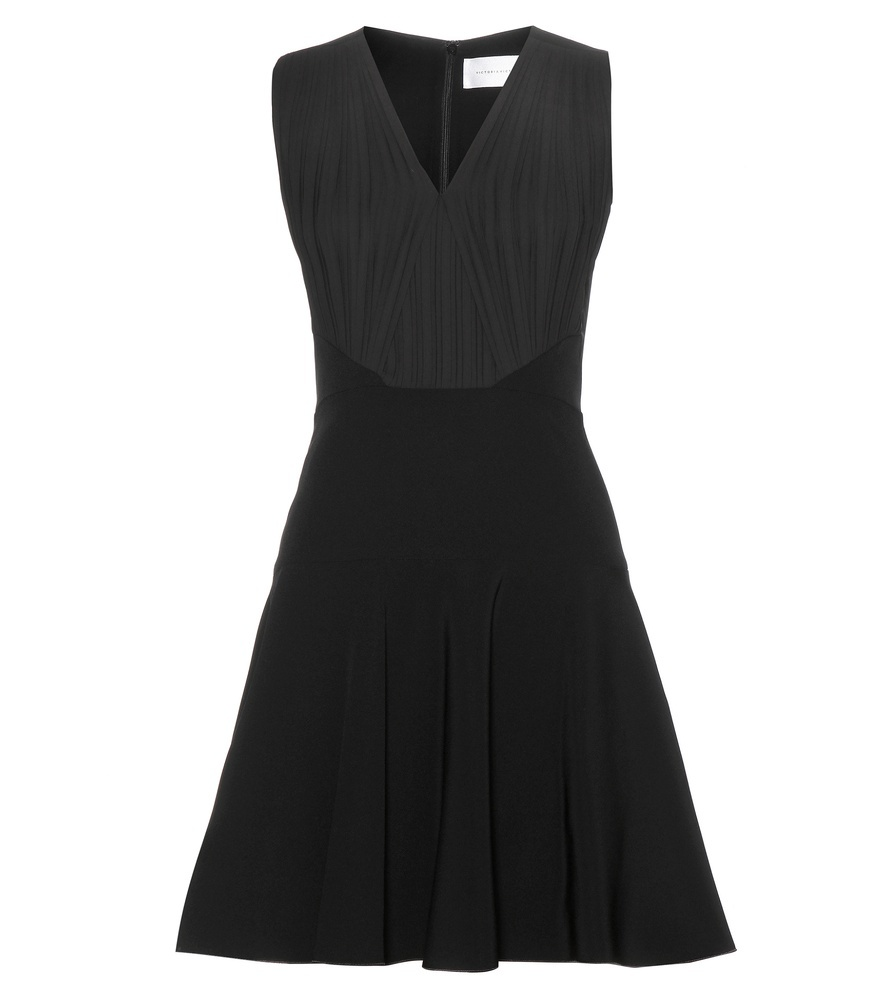 Mini Dress - style: shift; length: mid thigh; neckline: v-neck; pattern: plain; sleeve style: sleeveless; predominant colour: black; occasions: evening, occasion; fit: soft a-line; fibres: polyester/polyamide - mix; hip detail: soft pleats at hip/draping at hip/flared at hip; sleeve length: sleeveless; pattern type: fabric; texture group: jersey - stretchy/drapey; season: a/w 2015; wardrobe: event
