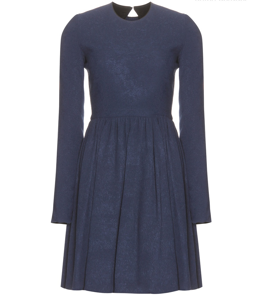 Knitted Dress - neckline: round neck; pattern: plain; predominant colour: denim; length: just above the knee; fit: fitted at waist & bust; style: fit & flare; fibres: viscose/rayon - stretch; hip detail: soft pleats at hip/draping at hip/flared at hip; sleeve length: long sleeve; sleeve style: standard; pattern type: fabric; texture group: jersey - stretchy/drapey; occasions: creative work; season: a/w 2015; wardrobe: highlight