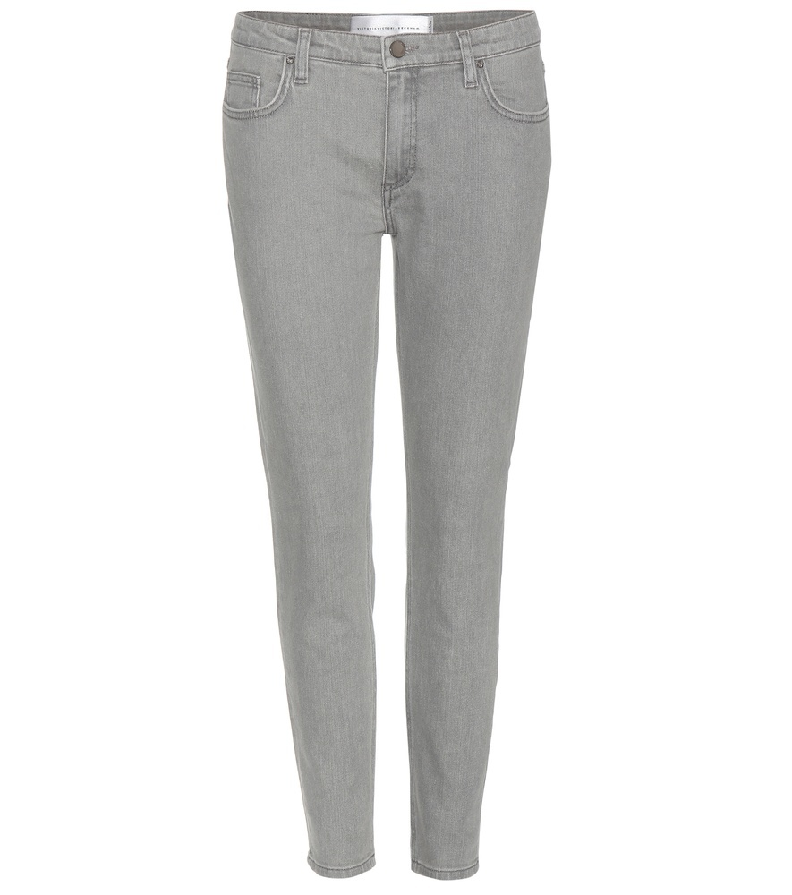 Skinny Jeans - style: skinny leg; length: standard; pattern: plain; pocket detail: traditional 5 pocket; waist: mid/regular rise; predominant colour: light grey; occasions: casual; fibres: cotton - stretch; texture group: denim; pattern type: fabric; season: a/w 2015; wardrobe: highlight