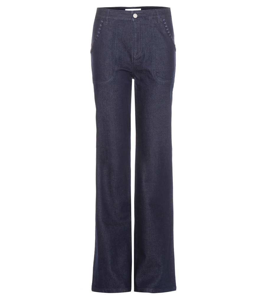 Wide Leg Jeans - length: standard; pattern: plain; waist: high rise; style: wide leg; predominant colour: denim; occasions: casual, creative work; fibres: cotton - stretch; jeans detail: dark wash; texture group: denim; pattern type: fabric; season: a/w 2015; wardrobe: basic