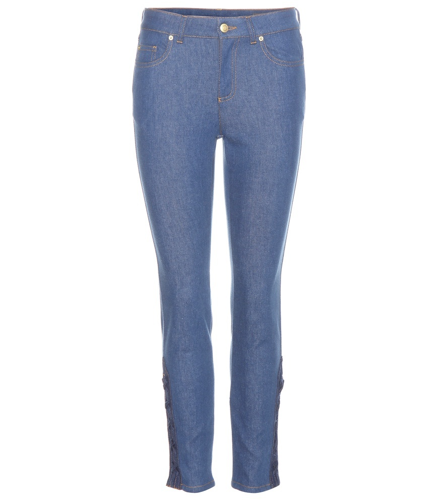 High Rise Jeans - style: skinny leg; length: standard; pattern: plain; pocket detail: traditional 5 pocket; waist: mid/regular rise; predominant colour: denim; occasions: casual; fibres: cotton - stretch; texture group: denim; pattern type: fabric; season: a/w 2015