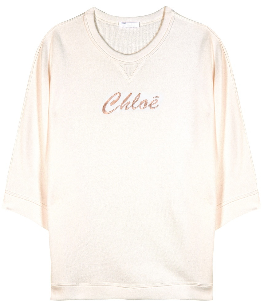Embroidered Sweatshirt - sleeve style: dolman/batwing; style: sweat top; predominant colour: ivory/cream; occasions: casual; length: standard; fibres: cotton - mix; fit: straight cut; neckline: crew; sleeve length: 3/4 length; pattern type: fabric; pattern size: light/subtle; texture group: jersey - stretchy/drapey; embellishment: embroidered; pattern: graphic/slogan; season: a/w 2015