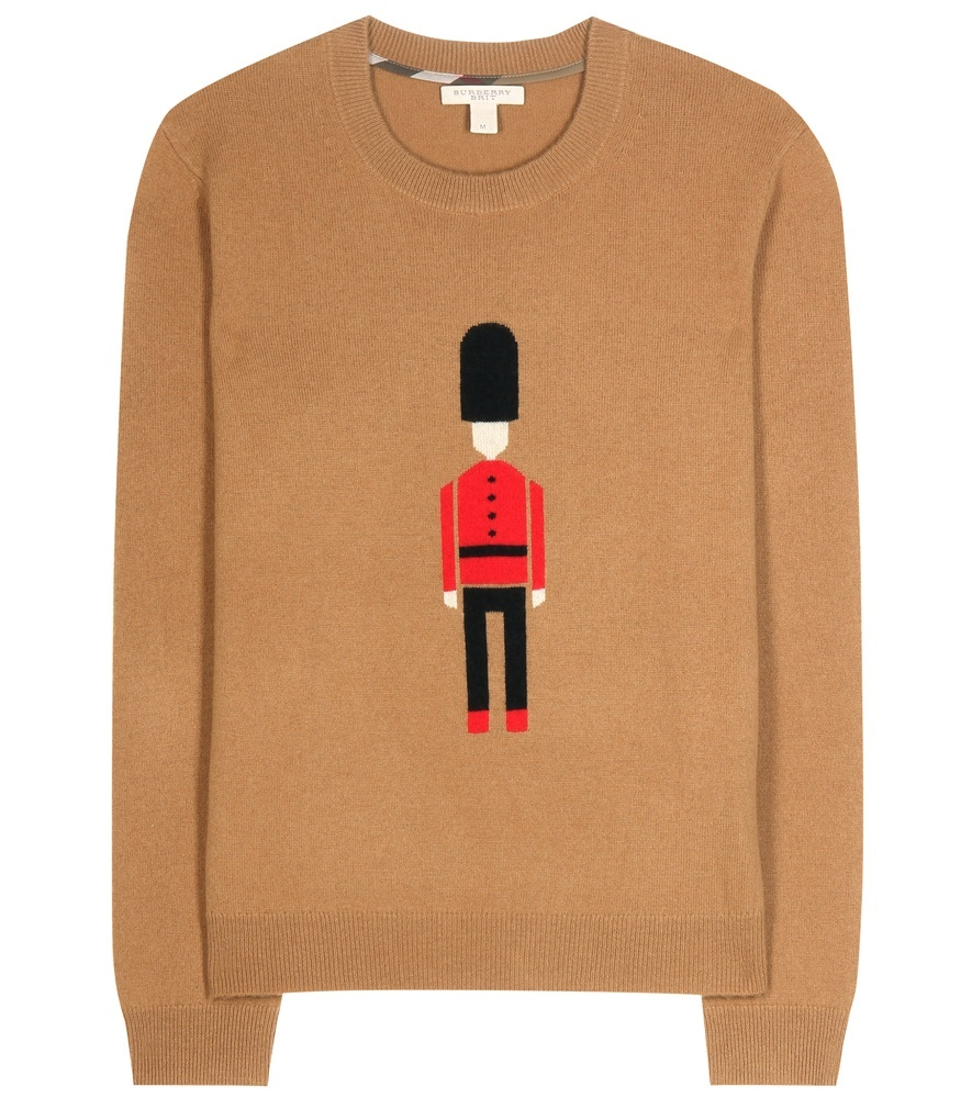 Wool And Cashmere Sweater - style: standard; secondary colour: true red; predominant colour: camel; occasions: casual; length: standard; fibres: wool - 100%; fit: standard fit; neckline: crew; sleeve length: long sleeve; sleeve style: standard; texture group: knits/crochet; pattern type: knitted - fine stitch; pattern size: standard; pattern: graphic/slogan; season: a/w 2015