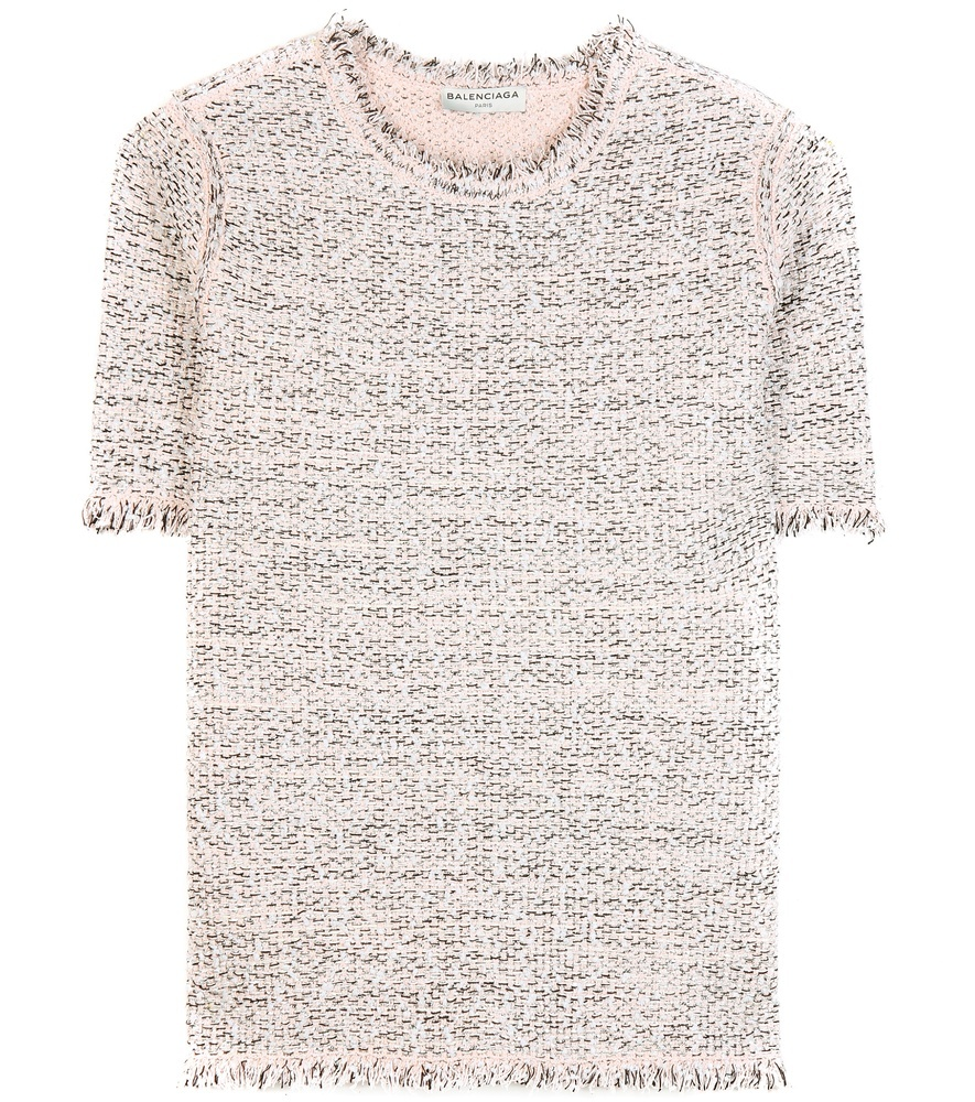 Frayed Tweed Top - style: t-shirt; pattern: herringbone/tweed; predominant colour: ivory/cream; secondary colour: stone; occasions: casual, creative work; length: standard; fibres: wool - mix; fit: straight cut; neckline: crew; sleeve length: short sleeve; sleeve style: standard; pattern type: fabric; pattern size: standard; texture group: tweed - light/midweight; season: a/w 2015; wardrobe: highlight