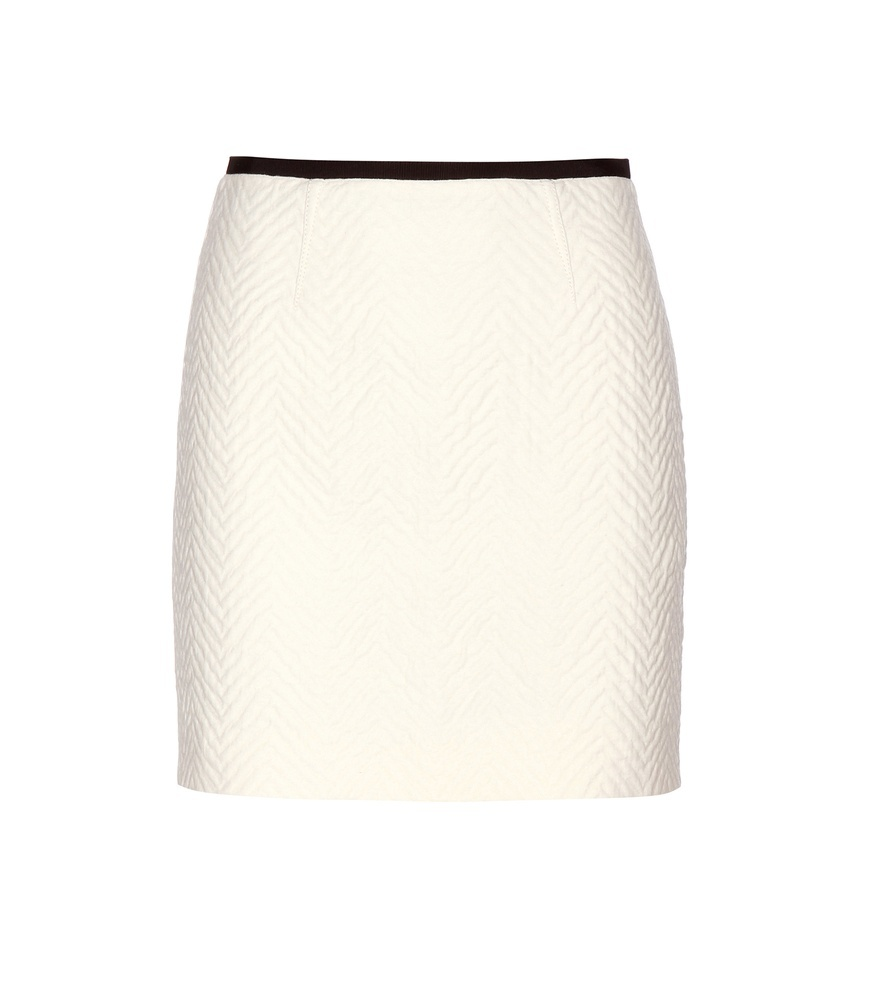 Cotton And Wool Miniskirt - length: mini; pattern: plain; fit: tight; waist: high rise; hip detail: fitted at hip; predominant colour: ivory/cream; occasions: work; style: mini skirt; fibres: wool - mix; waist detail: narrow waistband; pattern type: fabric; texture group: woven light midweight; season: a/w 2015