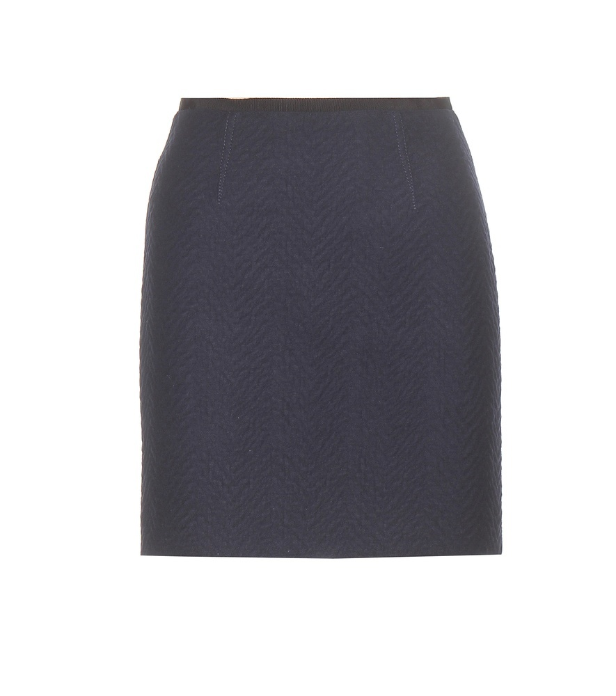 Wool Blend Miniskirt - length: mini; pattern: plain; fit: tight; waist: high rise; predominant colour: charcoal; occasions: work, creative work; style: mini skirt; fibres: wool - mix; waist detail: feature waist detail; pattern type: fabric; texture group: woven light midweight; season: a/w 2015; wardrobe: basic