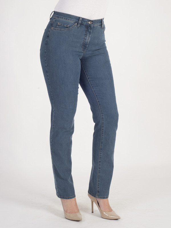 Gerry Weber Mid Wash Perfect Fit 'romy' Stretch Jeans - style: skinny leg; length: standard; pattern: plain; waist: high rise; predominant colour: denim; occasions: casual; fibres: cotton - stretch; texture group: denim; pattern type: fabric; season: a/w 2015