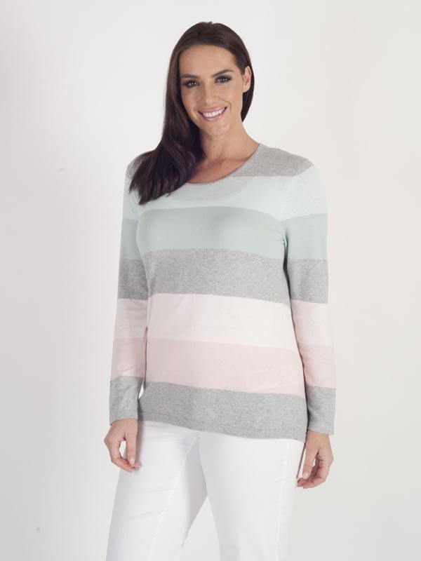 Gerry Weber Stripe Fine Knit Jumper - neckline: round neck; pattern: horizontal stripes; style: standard; secondary colour: blush; predominant colour: light grey; occasions: casual, creative work; length: standard; fibres: silk - mix; fit: standard fit; sleeve length: long sleeve; sleeve style: standard; texture group: knits/crochet; pattern type: knitted - fine stitch; pattern size: big & busy (top); multicoloured: multicoloured; season: a/w 2015