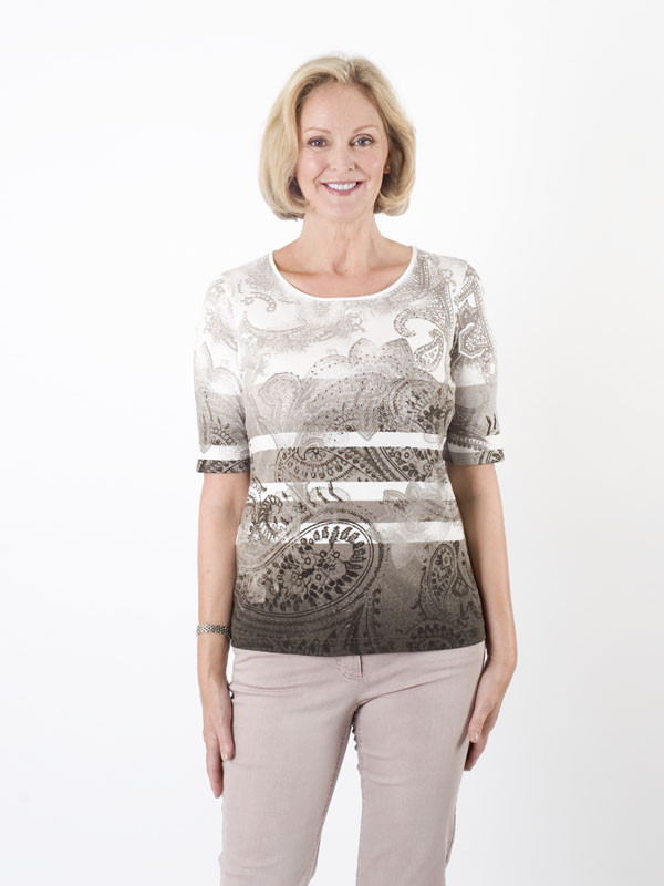 Gerry Weber Paisley Jersey Top - neckline: round neck; pattern: paisley; predominant colour: chocolate brown; occasions: casual, creative work; length: standard; style: top; fibres: cotton - 100%; fit: body skimming; sleeve length: short sleeve; sleeve style: standard; pattern type: knitted - fine stitch; pattern size: standard; texture group: jersey - stretchy/drapey; season: a/w 2015; wardrobe: highlight