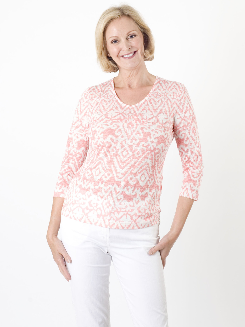 Gerry Weber Aztec Print Top - neckline: v-neck; predominant colour: pink; occasions: casual, creative work; length: standard; style: top; fibres: polyester/polyamide - mix; fit: body skimming; sleeve length: long sleeve; sleeve style: standard; texture group: knits/crochet; pattern type: fabric; pattern size: standard; pattern: patterned/print; season: a/w 2015; wardrobe: highlight