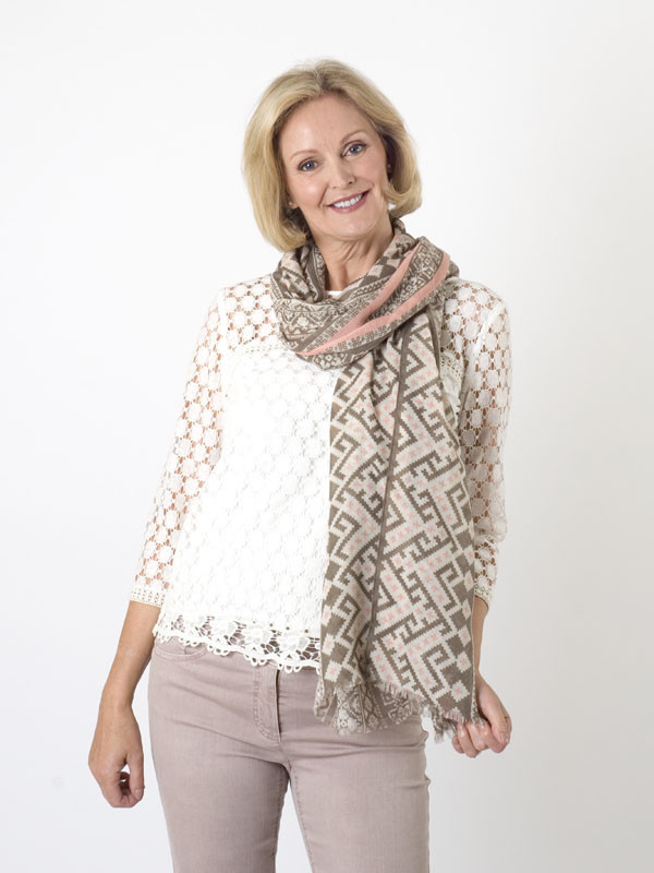 Gerry Weber Aztec Print Scarf - predominant colour: stone; occasions: casual; type of pattern: standard; style: regular; size: standard; material: fabric; pattern: patterned/print; season: a/w 2015