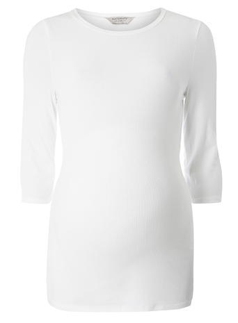 Womens **Maternity Ivory Longline Ribbed Top Ivory - neckline: round neck; pattern: plain; length: below the bottom; predominant colour: ivory/cream; occasions: casual, work, creative work; style: top; fibres: viscose/rayon - stretch; fit: body skimming; sleeve length: 3/4 length; sleeve style: standard; pattern type: fabric; texture group: jersey - stretchy/drapey; season: a/w 2015