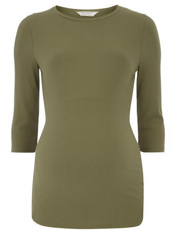 Womens **Maternity Khaki Longline Ribbed Top Khaki - pattern: plain; predominant colour: khaki; occasions: casual; length: standard; style: top; fibres: viscose/rayon - stretch; fit: body skimming; neckline: crew; sleeve length: 3/4 length; sleeve style: standard; pattern type: fabric; texture group: jersey - stretchy/drapey; season: a/w 2015