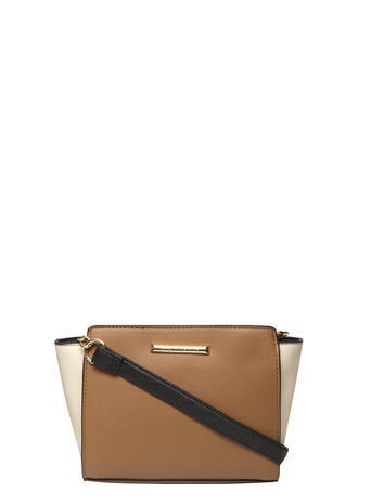 Womens Tan And Bone Crossbody Bag Brown - secondary colour: ivory/cream; predominant colour: tan; occasions: casual, creative work; type of pattern: standard; style: messenger; length: across body/long; size: standard; material: faux leather; pattern: plain; finish: plain; season: a/w 2015; wardrobe: highlight