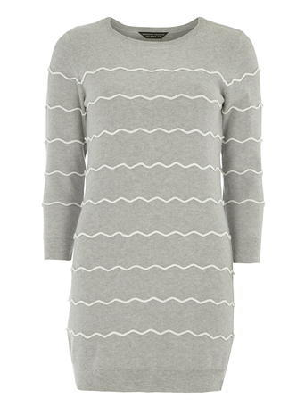 Womens Grey Wavy Stripe Jumper Grey/White - pattern: plain; style: standard; secondary colour: white; predominant colour: light grey; occasions: casual, creative work; fibres: polyester/polyamide - mix; fit: standard fit; neckline: crew; length: mid thigh; sleeve length: 3/4 length; sleeve style: standard; texture group: knits/crochet; pattern type: knitted - fine stitch; season: a/w 2015