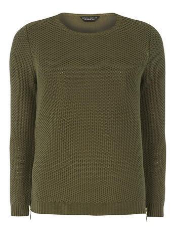 Womens Khaki Chiffon Hem Jumper Green - pattern: plain; style: standard; predominant colour: khaki; occasions: casual, creative work; length: standard; fibres: acrylic - mix; fit: standard fit; neckline: crew; sleeve length: long sleeve; sleeve style: standard; texture group: knits/crochet; pattern type: knitted - other; season: a/w 2015