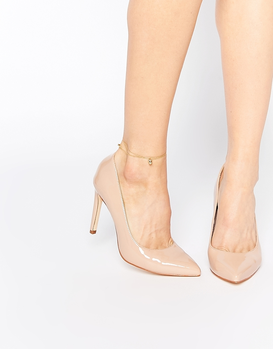 Carey Nude Patent Court Shoes Nude - predominant colour: nude; material: leather; heel height: high; heel: stiletto; toe: pointed toe; style: courts; finish: patent; pattern: plain; occasions: creative work; season: a/w 2015; wardrobe: investment