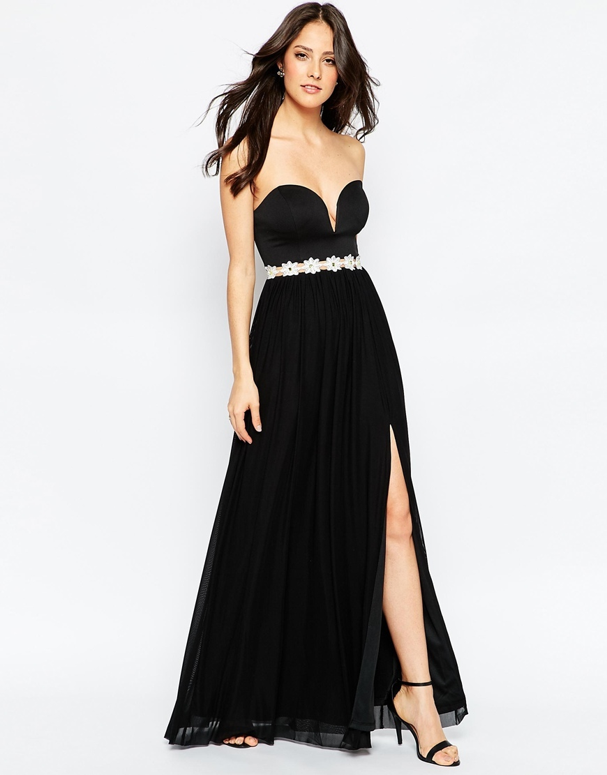 Sweetheart Maxi Dress With Daisy Trim Black - fit: empire; pattern: plain; style: maxi dress; sleeve style: strapless; neckline: sweetheart; waist detail: belted waist/tie at waist/drawstring; predominant colour: black; occasions: evening, occasion; length: floor length; fibres: polyester/polyamide - 100%; sleeve length: sleeveless; pattern type: fabric; texture group: jersey - stretchy/drapey; season: a/w 2015
