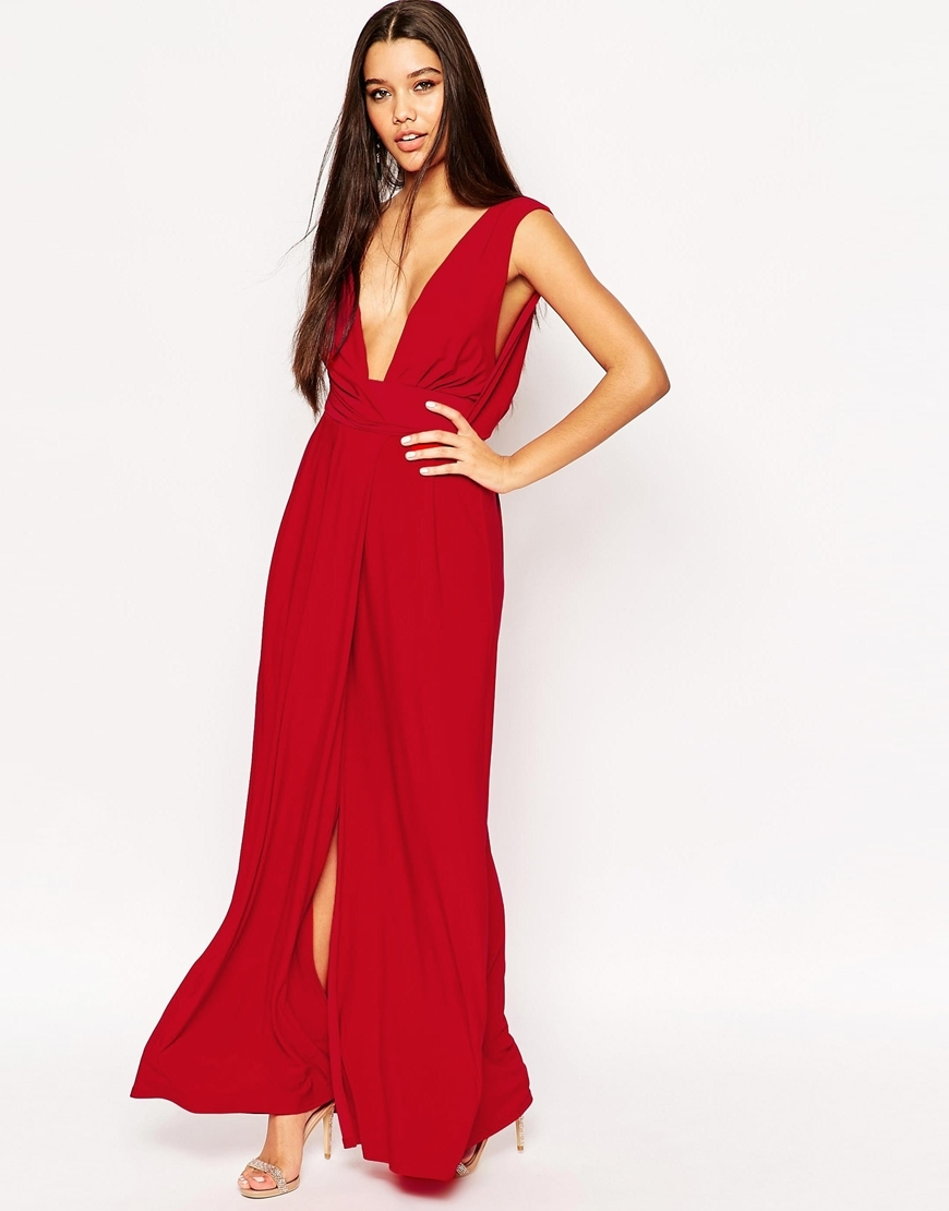 Drape V Neck Belted Maxi Dress Red - neckline: plunge; fit: empire; pattern: plain; sleeve style: sleeveless; style: maxi dress; length: ankle length; hip detail: draws attention to hips; predominant colour: true red; occasions: evening; fibres: polyester/polyamide - 100%; sleeve length: sleeveless; texture group: sheer fabrics/chiffon/organza etc.; pattern type: fabric; season: a/w 2015; wardrobe: event