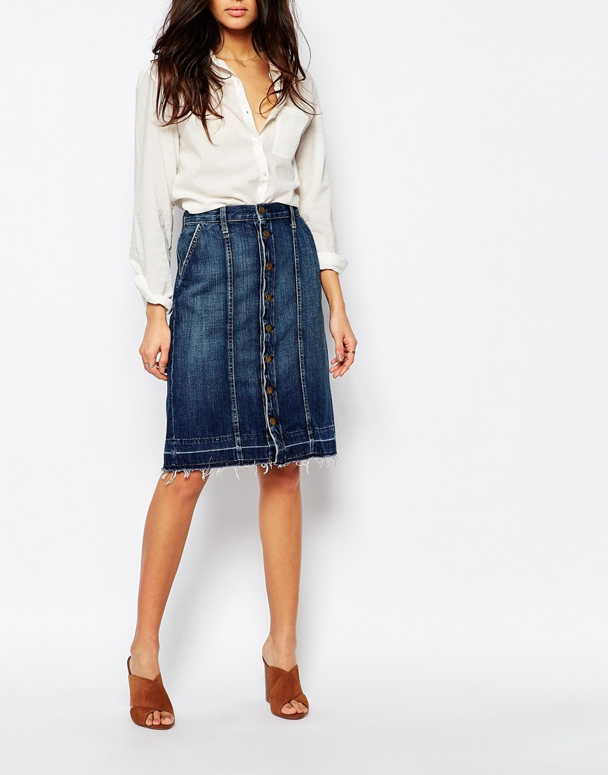 Current Elliott Button Up Denim Midi Skirt With Released Hem Blue - pattern: plain; fit: loose/voluminous; waist: high rise; predominant colour: denim; occasions: casual, creative work; length: on the knee; style: a-line; fibres: cotton - 100%; texture group: denim; pattern type: fabric; season: a/w 2015; wardrobe: basic