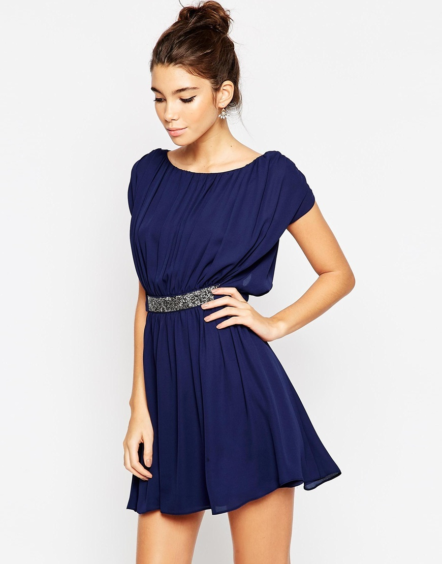Embellished Waist Mini Skater Dress Nude - length: mini; neckline: slash/boat neckline; sleeve style: capped; fit: fitted at waist; pattern: plain; waist detail: embellishment at waist/feature waistband; predominant colour: royal blue; occasions: evening; style: fit & flare; fibres: polyester/polyamide - 100%; sleeve length: short sleeve; pattern type: fabric; texture group: other - light to midweight; embellishment: beading; season: a/w 2015