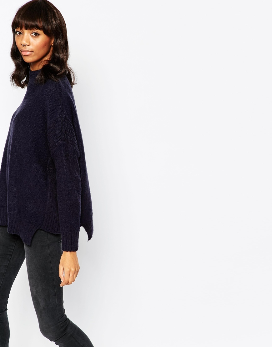 Jumper In Soft Yarn Navy - pattern: plain; length: below the bottom; neckline: roll neck; style: standard; predominant colour: navy; occasions: casual; fibres: acrylic - mix; fit: loose; sleeve length: long sleeve; sleeve style: standard; texture group: knits/crochet; pattern type: fabric; season: a/w 2015; wardrobe: basic