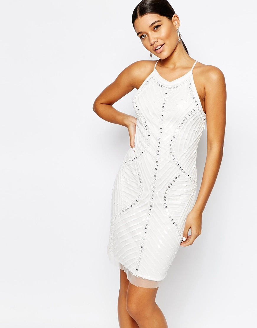 Cami Strap Sequin Embellished Dress White - fit: tight; pattern: plain; sleeve style: sleeveless; style: bodycon; neckline: low halter neck; predominant colour: white; occasions: evening; length: just above the knee; fibres: nylon - 100%; sleeve length: sleeveless; texture group: jersey - clingy; pattern type: fabric; embellishment: sequins; season: a/w 2015; wardrobe: event; embellishment location: pattern