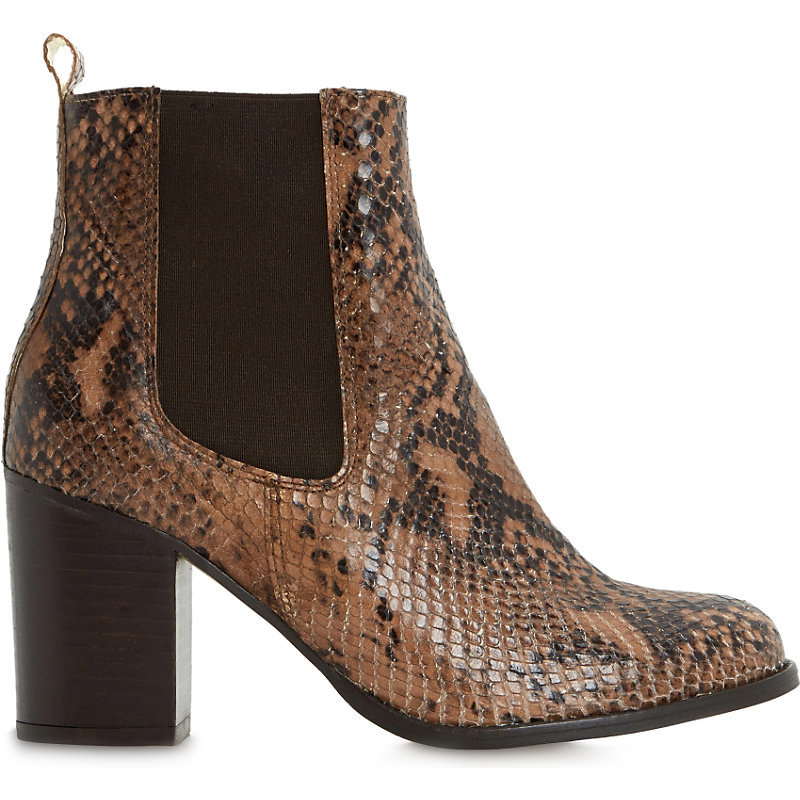 Prynn Leather Snake Embossed Heeled Chelsea Boots, Women's, Eur 38 / 5 Uk Women, Natural Reptile - secondary colour: chocolate brown; predominant colour: black; occasions: casual; material: leather; heel height: mid; embellishment: elasticated; heel: block; toe: round toe; boot length: ankle boot; finish: plain; pattern: animal print; style: chelsea; season: a/w 2015; wardrobe: highlight