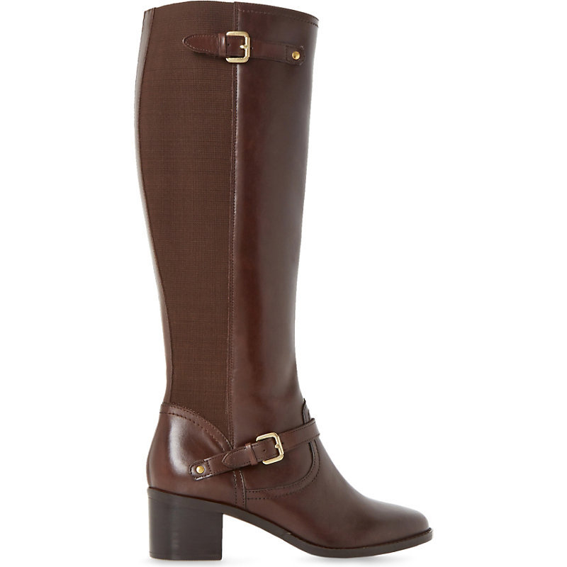 Vivvi Leather Knee High Boots, Women's, Eur 37 / 4 Uk Women, Brown Leather - predominant colour: chocolate brown; occasions: casual, creative work; material: leather; heel height: mid; embellishment: buckles; heel: block; toe: round toe; boot length: knee; style: standard; finish: plain; pattern: plain; season: a/w 2015; wardrobe: investment