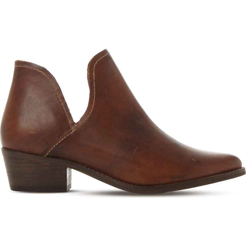 Cutout Leather Ankle Boots, Women's, Eur 41 / 8 Uk Women, Tan/Brown - predominant colour: chocolate brown; occasions: casual; material: leather; heel height: flat; heel: block; toe: round toe; boot length: ankle boot; style: standard; finish: plain; pattern: plain; season: a/w 2015; wardrobe: basic