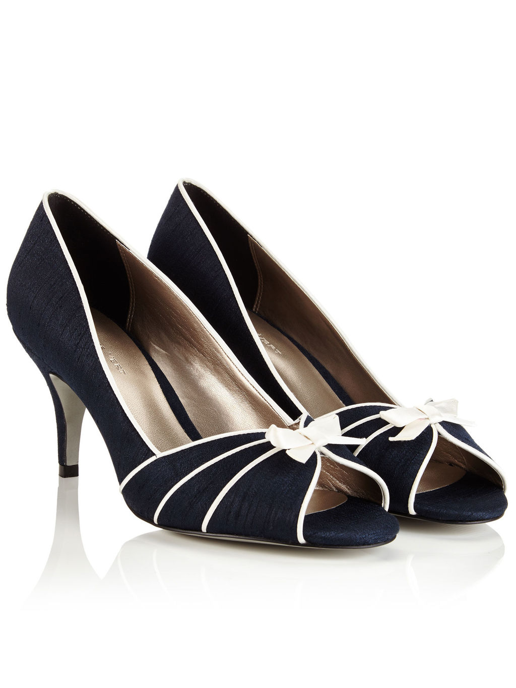 Piping Detail Peeptoe Shoe - secondary colour: ivory/cream; predominant colour: royal blue; occasions: casual; material: fabric; heel height: high; heel: stiletto; toe: open toe/peeptoe; style: courts; finish: plain; pattern: plain; embellishment: bow; season: a/w 2015