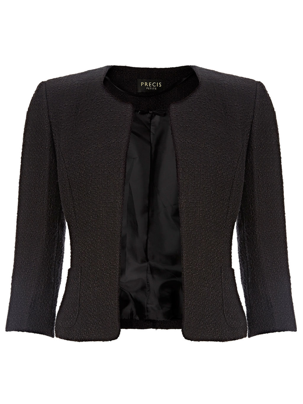 Textured Jacket - pattern: plain; style: single breasted blazer; collar: round collar/collarless; predominant colour: black; occasions: evening; length: standard; fit: tailored/fitted; fibres: cotton - mix; sleeve length: 3/4 length; sleeve style: standard; collar break: low/open; pattern type: fabric; texture group: woven light midweight; season: a/w 2015
