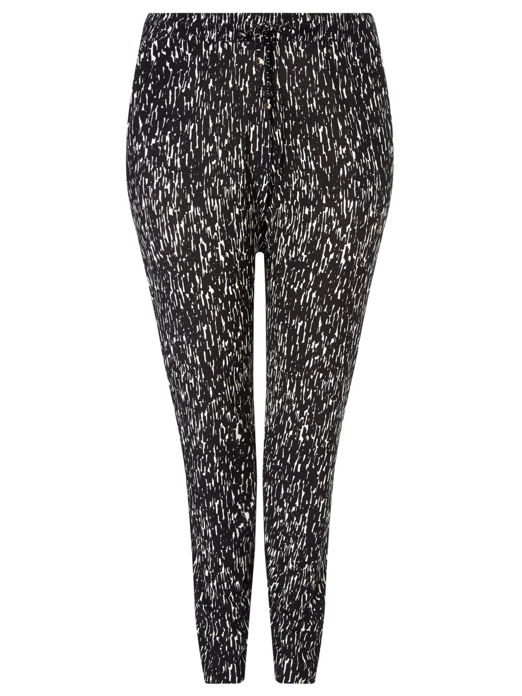 Bark Print Jersey Trouser - length: standard; style: harem/slouch; waist detail: belted waist/tie at waist/drawstring; waist: mid/regular rise; secondary colour: mid grey; predominant colour: black; occasions: casual; fibres: polyester/polyamide - stretch; fit: tapered; pattern type: fabric; pattern: patterned/print; texture group: jersey - stretchy/drapey; multicoloured: multicoloured; season: a/w 2015