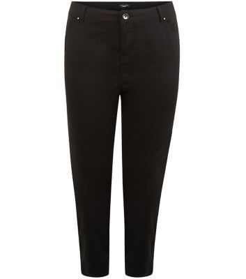 Curves Black Skinny Jeans - style: skinny leg; pattern: plain; waist: high rise; predominant colour: black; occasions: casual, creative work; length: calf length; fibres: cotton - stretch; jeans detail: dark wash; texture group: denim; pattern type: fabric; season: a/w 2015; wardrobe: basic