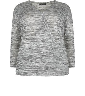 Curves Grey Fine Knit Wrap Front Top - neckline: v-neck; style: wrap/faux wrap; predominant colour: light grey; secondary colour: light grey; occasions: casual; length: standard; fibres: viscose/rayon - stretch; fit: body skimming; sleeve length: 3/4 length; sleeve style: standard; pattern type: fabric; texture group: jersey - stretchy/drapey; pattern: marl; season: a/w 2015