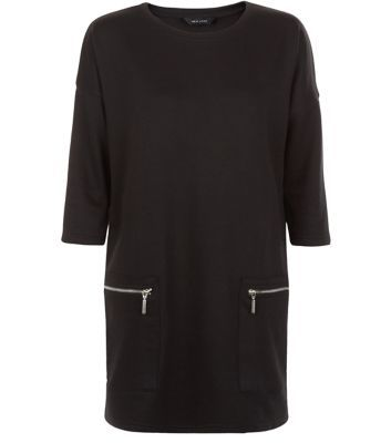 Black Zip Pocket Longline Tunic Top - pattern: plain; length: below the bottom; style: tunic; predominant colour: black; occasions: casual; fibres: polyester/polyamide - mix; fit: body skimming; neckline: crew; sleeve length: 3/4 length; sleeve style: standard; pattern type: fabric; texture group: jersey - stretchy/drapey; season: a/w 2015; wardrobe: basic