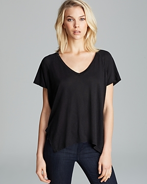 Tee Darcy Side Slit - neckline: v-neck; pattern: plain; style: t-shirt; predominant colour: black; occasions: casual; length: standard; fibres: cotton - mix; fit: loose; sleeve length: short sleeve; sleeve style: standard; pattern type: fabric; texture group: jersey - stretchy/drapey; season: a/w 2015; wardrobe: basic