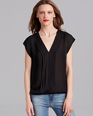 Top Marcher Silk - neckline: v-neck; pattern: plain; style: blouse; predominant colour: black; occasions: casual; length: standard; fibres: silk - 100%; fit: body skimming; sleeve length: short sleeve; sleeve style: standard; pattern type: fabric; texture group: other - light to midweight; season: a/w 2015