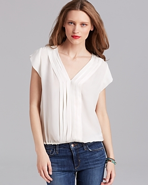 Top Marcher Silk - neckline: v-neck; pattern: plain; style: blouse; predominant colour: ivory/cream; occasions: casual; length: standard; fibres: silk - 100%; fit: body skimming; sleeve length: short sleeve; sleeve style: standard; pattern type: fabric; texture group: other - light to midweight; season: a/w 2015; wardrobe: basic