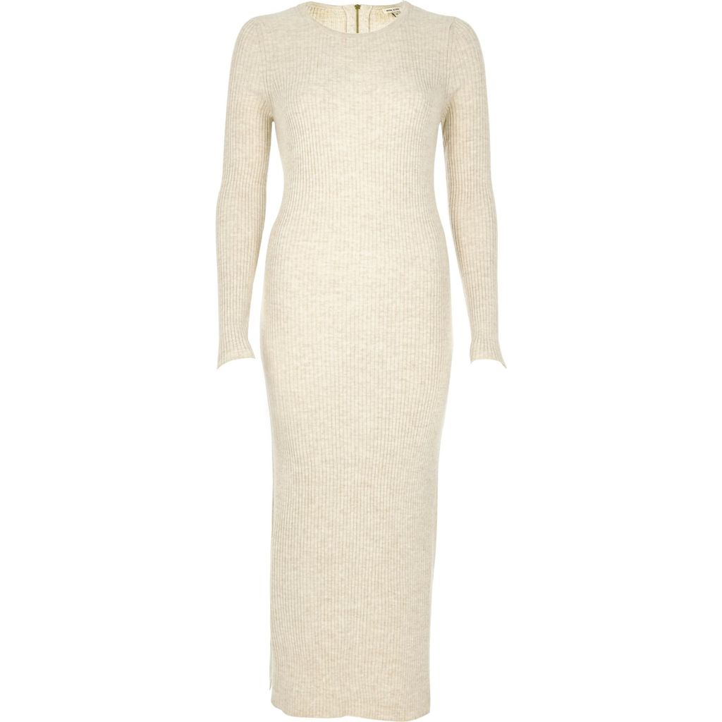 Womens Cream Knitted Bodycon Midi Dress - length: calf length; fit: tight; pattern: plain; style: bodycon; predominant colour: ivory/cream; occasions: evening; fibres: acrylic - 100%; neckline: crew; sleeve length: long sleeve; sleeve style: standard; texture group: jersey - clingy; pattern type: fabric; season: a/w 2015