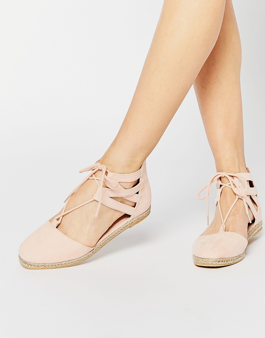 Jessica Lace Up Espadrilles Pastel Pink - predominant colour: blush; occasions: casual, holiday, creative work; material: fabric; heel height: flat; ankle detail: ankle tie; toe: round toe; finish: plain; pattern: plain; style: espadrilles; season: a/w 2015; wardrobe: highlight